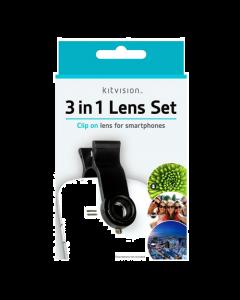 Kitvision 3-in-1 Clip Lens Set for Smartphones (Macro, Fisheye & Wide-Angle)