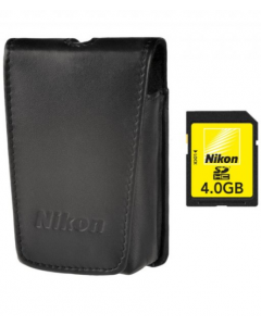 Nikon Coolpix 4GB SD Card & Small Leather Case Kit For S Series