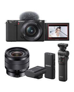 Sony Alpha ZV-E10 Digital Camera Vlogging Bundle with 16-50mm & 10-18mm Lenses