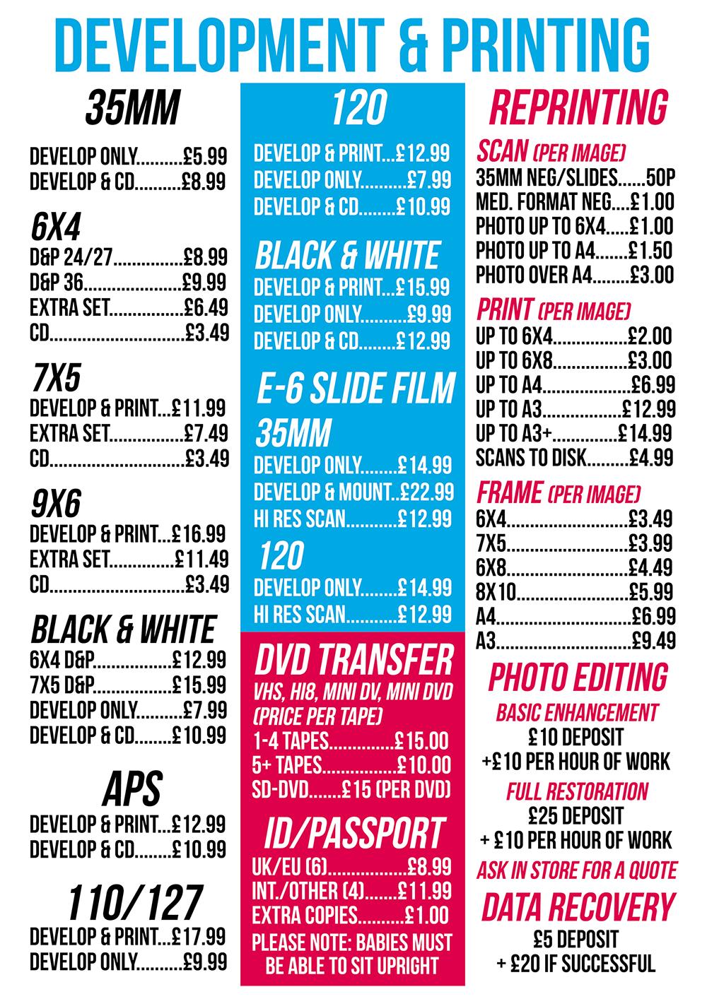 Printing Price List