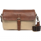 ONA Bowery Antique Cognac Leather And Natural Canvas Messenger Bag