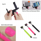 Camera Centre Bluetooth Selfie Stick Camera Tripod Mount & Mobile Mount: Pink