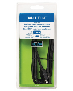 Valueline 2m High Speed HDMI Cable with Ethernet Connector