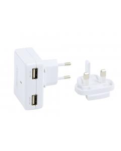 Profigold Dual USB Charger Plug with 2 pin and 3 pin Plug