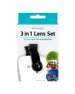 Kitvision 3-in-1 Clip Lens Set for Smartphones (Macro, Fisheye & Wide-Angle)