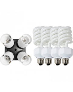 Westcott 4 Socket Adapter & 26W Daylight Flourescent Lamps (441A)