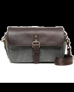 ONA Bowery Dark Truffle Leather And Smoke Canvas Messenger Bag