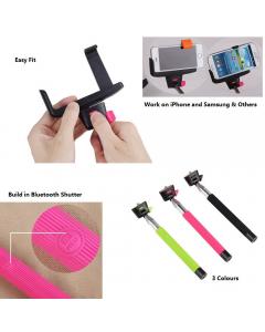 Camera Centre Bluetooth Selfie Stick Camera Tripod Mount & Mobile Mount: Pink